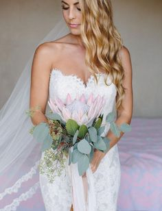 30 Wedding Bouquets With King Proteas :: a stylish wedding bouquet with a single king protea and seeded eucalyptus plus blush ribbons Protea Wedding, Flower Bouquet Wedding, Floral Wedding, Mod Wedding, Wedding Bride, Wedding Dresses, Wedding Makeup, Bride Groom, Wedding Trends