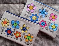 Flutterby Patch: Machine applique on hand sewn bags