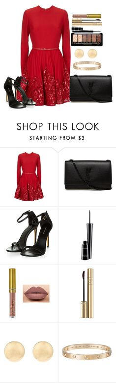 """""""Untitled #1213"""" by fabianarveloc on Polyvore featuring Elie Saab, Yves Saint Laurent, MAC Cosmetics, Dolce&Gabbana and Cartier"""