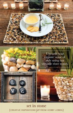 Hobby Lobby Project - Stylish Stone Décor - Stone Decor, embellish, natural, earthy, decorate, knobs, candles, planters,