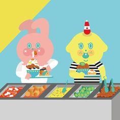 Eat! #uniquefamily #illustration #일러스트레이션 #drowning #뷔페 #garbi #dog🐶 #강아지🐶 #puppyp #펍피피 #유니크패밀리 #토끼 #가비 #삑 #먹방 #buffet #greedy #晚餐