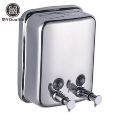 304 Stainless Steel Double Soap Dispenser Wall Mounted Hand Lotion Shampoo Soap Dispenser #Affiliate