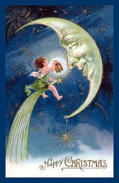 vintage Christmas card ~ Moon cherub via Vintage Christmas Images, Vintage Holiday, Christmas Pictures, Vintage Images, Christmas Angels, Christmas Greetings, Christmas Postcards, Birthday Greetings, Birthday Wishes