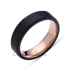 6mm,Unique,Black Brushed,Rose Gold Groove,Tungsten RIng,Rose Gold,Wedding Band