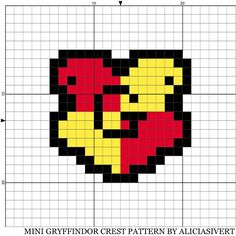 Mini Hogwarts house Gryffindor crest, cross stitch pattern by Alicia Sivertsson, 2014. Gryffindor, Slytherin, Hufflepuff and Ravenclaw from the magical world of Harry Potter.