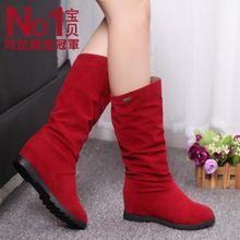 2015  women's autumn/Winter Patchwork shoes brand boots nubuck leather boots flat elevator single medium-leg boots free shipping(China (Mainland))
