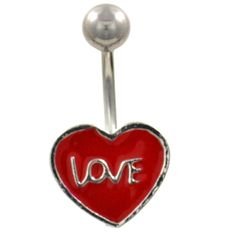 BodyDazz.com - Love Scripted Red Heart Belly Ring