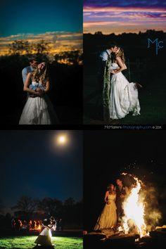sunset wedding photos bonfire wedding reception