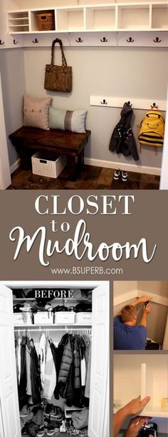 Closet to Mudroom - The Reveal - B Superb. DIY Closet to Mudroom Makeover – great tutorial and tips Front Hall Closet, Hallway Closet, Closet Mudroom, Closet Bench, Long Hallway, Coat Closet Organization, Closet Storage, Hallway Storage, Diy Organization