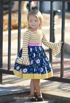 The Phoebe dress is a lovely and comfortable fall dress. This dress includes a knit bodice, sewn in sash, and a lovely floral skirt. Cotton Fabric Made in the USA by Kinder Kouture Please allow weeks for delivery. Girls Boutique, Handmade Clothes, Baby Dress, Little Girls, Sewing Projects, Girl Outfits, Summer Dresses, Crochet, Unique