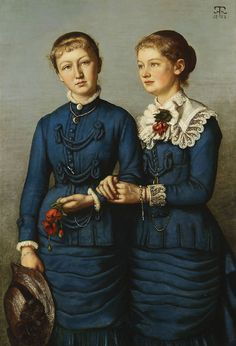 by Hans Thoma / 'Portrait of the two daughters of the Haag family', Family Portrait Painting, Woman Painting, Family Portraits, Paula Modersohn Becker, Hermann Hesse, Max Ernst, Karl Hofer, Hans Thoma, George Grosz