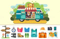 Family travel van. by TastyVector on Creative Market