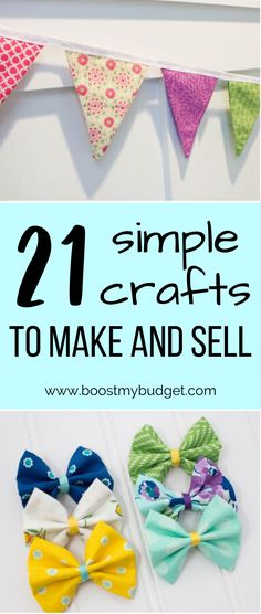 Crafting is a popular hobby to make money. Even if you don't have great skill at crafting, you can make money selling crafts! Here are 21 simple craft ideas that anyone can make and sell online. Crafts To Make And Sell, How To Make Money, Local Craft Fairs, Leather Bookmark, Popular Hobbies, Selling Crafts, Felt Ball Garland, Good Presentation, Felt Bows