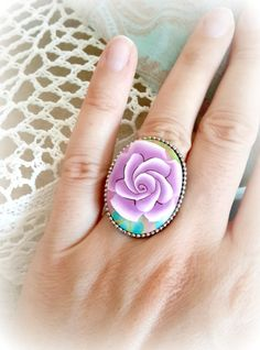 Colorful Rose Polymer Clay Adjustable Ring by OlgaeFIMOva on Etsy, $35.00