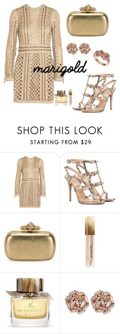 """""""Untitled #113"""" by aidaavazova ❤ liked on Polyvore featuring Balmain, Valentino, Alexander McQueen, Burberry, Suzanne Kalan and Effy Jewelry"""