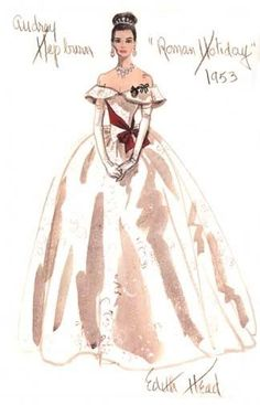 Costume design sketch by Edith Head for Audrey Hepburn in 'Roman Holiday', 1953.