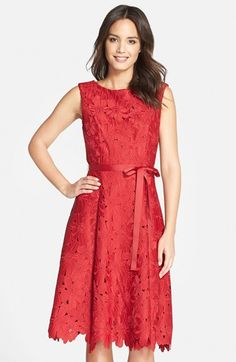 JS Collections Floral Lace Fit & Flare Dress available at #Nordstrom-$118.80