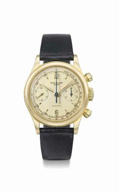 Patek Philippe. A very fine, rare and attractive 18K yellow gold chronograph wristwatch with unusual dial, manufactured in 1958 #ChristiesWatches