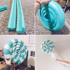 "Yeji Sakoda (she/her) on Instagram: ""A quick look at how I made the giant lollipop for my Vanellope Von Schweetz costume. 1. Carve the pool noodles and glue the ends to…"" #candylanddecorations"