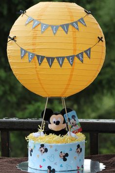 Mickey Mouse Hot Air Balloon Diaper Cake www.facebook.com/babycakes607