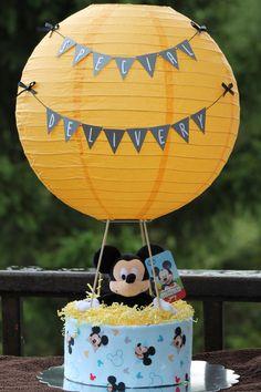 Mickey Mouse Hot Air Balloon Diaper Cake  www.facebook.com/babycakes607