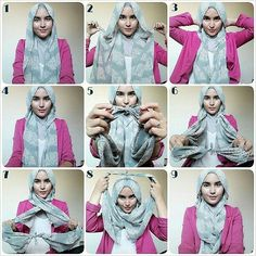 Sick of your old hijab style? Try something new and different with these 10 new hijab tutorials! Simple Hijab Tutorial, Hijab Simple, Hijab Style Tutorial, Turban Hijab, Islamic Fashion, Muslim Fashion, Hijab Fashion, Hijab Chic, Stylish Hijab