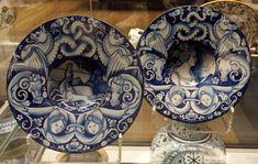 Two plates or bowls made in Deruta by Nicola di Pietro Francioli in 1515-1530