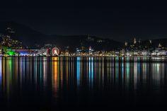 #lucerne #night by Christian Betschart, Flickr Lucerne, Sydney Harbour Bridge, Reflection, Christian, Landscape, Night, Travel, Viajes, Scenery