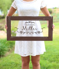 Personalized Calligraphy Wedding Sign Bridal Shower Gift Wedding Present Custom Rustic Decor (item number NVMHDA1338)#affiliate
