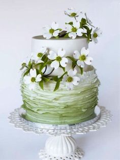 Tiered Cake with Flower Accents