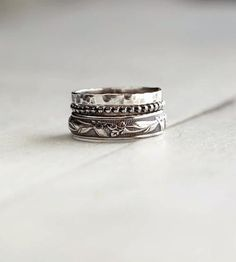Rustic Sterling Silver Stacking Ring Assortment – Set of 3 by 36ten on Scoutmob Shoppe