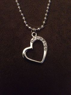 """Silver Heart w/ clear Gemstones Pendant & 24"""" Snap Bead Necklace - Valentines  #Unbranded #Pendant"""