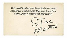 Steve Martin's business card