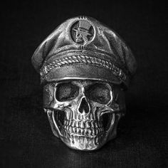 """""""Deathmonger"""" a skull ring based on lead free pewter that made by Fourspeed Metalwerks. Zippertravel.com"""