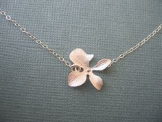 Single Silver Orchid Flower NecklaceBridesmaids Jewelry, Bridal Jewelry