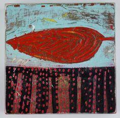 """Reclining Leaf  Barbara Gilhooly (c) 2011  6 x 6""""  acrylic on birch"""