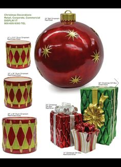 commercial indooroutdoor ornament christmas ball ornament 24 redgold ball ornament fiberglass material uv paint for outdoo - Fiberglass Christmas Decorations