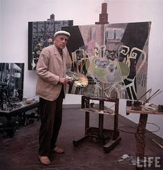 Georges Braque at his studio in Paris, 1949 Pablo Picasso, Artist Art, Artist At Work, Famous Artists, Great Artists, Georges Braque Cubism, Cubist Artists, Cubism Art, Artists Space