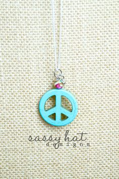 Turquoise Stone Peace Sign Necklace with Snake Chain
