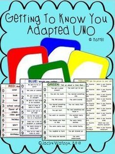 """FREE Put a new twist on a classic game with social skills!  Put a new twist on a classic game with these boards that will engage your students in conversation as they play! Boards are to be used with standard UNO (r) Mattel deck. Each color corresponds with different """"getting to know you tasks.""""  Engaging and age appropriate for secondary students.  Download at:  www.teacherspayte..."""