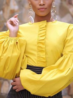 Patchwork Lantern Sleeve Plain Standard Women's Blouse - African fashion Classy Outfits, Chic Outfits, Fashion Outfits, Fashion Trends, Fashion Top, Fashion Blouses, Couture Fashion, Ghanaian Fashion, African Fashion Dresses