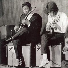 "B.B. King and Eric Clapton - notice Eric is playing the (now T, Rundgren's) psychedelic-liveried ""Fool"" Gibson SG . . ."