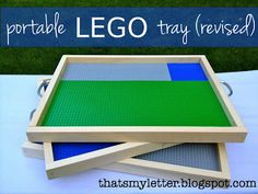 We made this awesome Portable LEGO Tray last weekend! It was a pretty easy DIY project, and one that is perfect for a LEGO lover! Legos, Lego Lego, Lego Batman, Projects For Kids, Diy For Kids, Sewing Projects, Lego Projects, Lego Tray, Diy Lego Table
