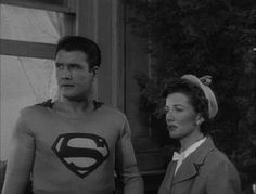 A very rare take-off scene in which George Reeves himself, rather than a stunt double, is lifted off the ground using wires.  First used in the 1951 theatrical release, Superman and the Mole Men