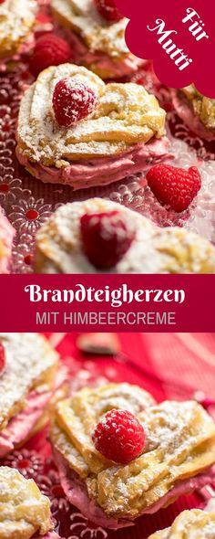 Muttertagsrezept - Brandteigherzen mit Himbeercreme. Super lecker und für Muttertag oder Valentinstag bestens geeignet. German Cake, Sugar Love, Fancy Cakes, Cake Cookies, Cupcakes, Sweet Recipes, Smoothies, Bakery, Deserts