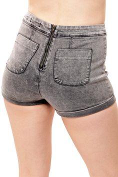High Waist Back Zipper short - Black