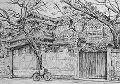 Artist - Itsuo Kiritani   Title - Yanaka 2 Chome (谷中2丁目)  Dimensions - (23.7cm x 33.2cm)Year - 1993  Media - Pen and Ink on Paper   Exhibition - ANA InterContinental Tokyo  Nov. 9, 2015 - Feb. 9, 2016     Inquiry