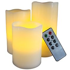 LED Lytes Battery Operated Flameless Unscented Ivory Wax Amber Yellow Flame Candles with Remote 3 Pack *** Visit the image link more details. Flameless Candles With Remote, Led Candle Lights, Pillar Candles, Candle Set, Candle Holders, Terrarium Wedding, Look Plus, Battery Operated, Porta Velas
