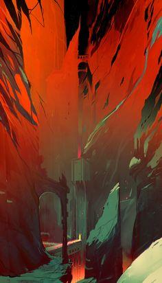 Destruction, Matteo Bassini / rouge / vert / forteresse / tour / explosion / énergie / pont / couleur