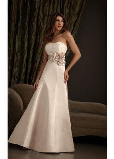 Allure A-line Court Train Strapless Sleeveless Satin Wedding Dresses - Wedding Dresses